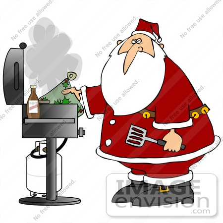 #38124 Clip Art Graphic of Santa Claus Grilling on the BBQ by DJArt