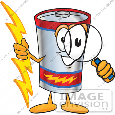 #38146 Clip Art Graphic of a Battery Mascot Character Holding A Bolt Of Energy And Looking Through A Magnifying Glass by toons4biz