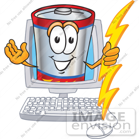 #38149 Clip Art Graphic of a Battery Mascot Character Holding A Bolt Of Energy And Waving In A Computer Screen by toons4biz
