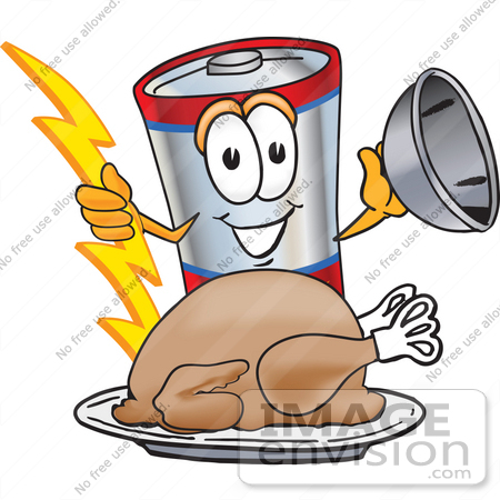 #38151 Clip Art Graphic of a Battery Mascot Character Serving a Thanksgiving Turkey on a Platter by toons4biz