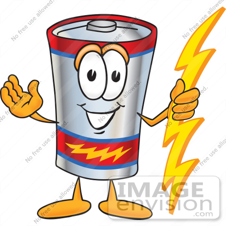 #38152 Clip Art Graphic of a Battery Mascot Character Holding A Bolt Of Energy And Welcoming by toons4biz