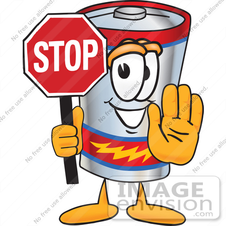 #38154 Clip Art Graphic of a Battery Mascot Character Holding a Stop Sign by toons4biz