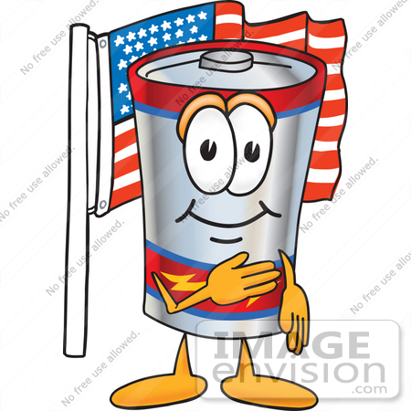 #38157 Clip Art Graphic of a Battery Mascot Character Pledging Allegiance to an American Flag by toons4biz