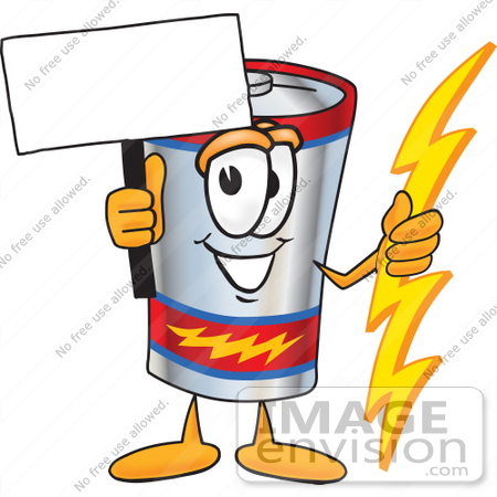 #38164 Clip Art Graphic of a Battery Mascot Character Holding A Bolt Of Energy And A Blank Sign by toons4biz