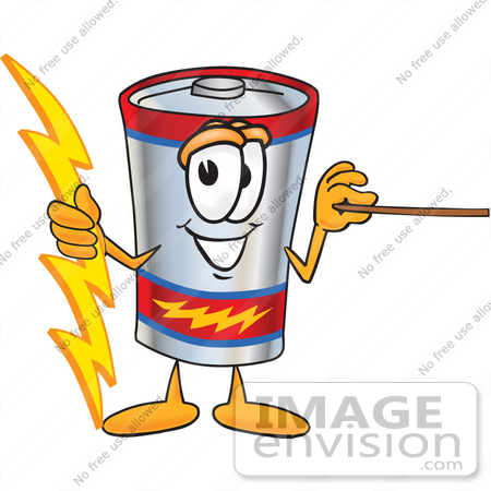 #38167 Clip Art Graphic of a Battery Mascot Character Holding A Bolt Of Energy And A Pointer Stick by toons4biz