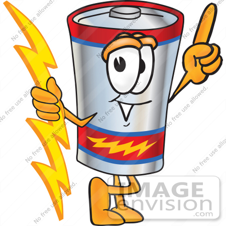 #38171 Clip Art Graphic of a Battery Mascot Character Holding A Bolt Of Energy And Pointing Upwards by toons4biz