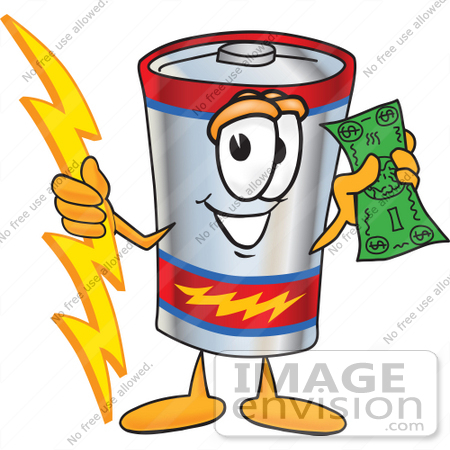 #38172 Clip Art Graphic of a Battery Mascot Character Holding A Bolt Of Energy And A Green Dollar Bill by toons4biz