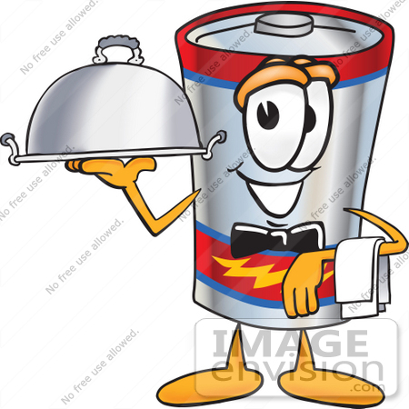 #38173 Clip Art Graphic of a Battery Mascot Character Dressed as a Waiter and Holding a Serving Platter by toons4biz
