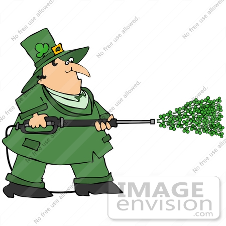 #38904 Clip Art Graphic of a Leprechaun Power Washing With Clovers by DJArt