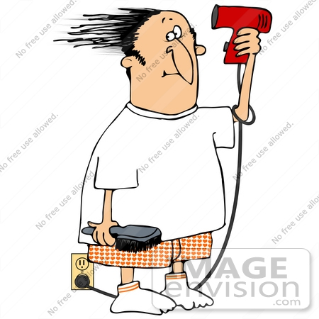 #38907 Clip Art Graphic of a Caucasian Man Blow Drying His Hair by DJArt