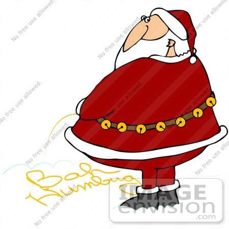 #38910 Clip Art Graphic of Santa Claus Pissing in the Snow, Writing Bah Humbug by DJArt