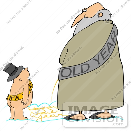 #39726 Clip Art Graphic of an Old Year Man Looking Down at a New Year Baby While Writing With His Urine by DJArt