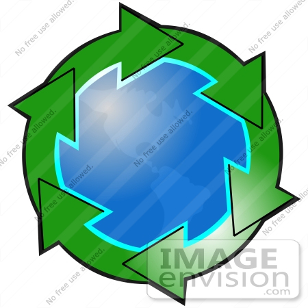 #40671 Clip Art Graphic of Green Arrows Circling The American Continents On Planet Earth by DJArt