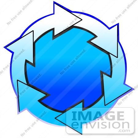 #40676 Clip Art Graphic of Gradient Blue And White Arrows Circling A Gradient Blue Center by DJArt