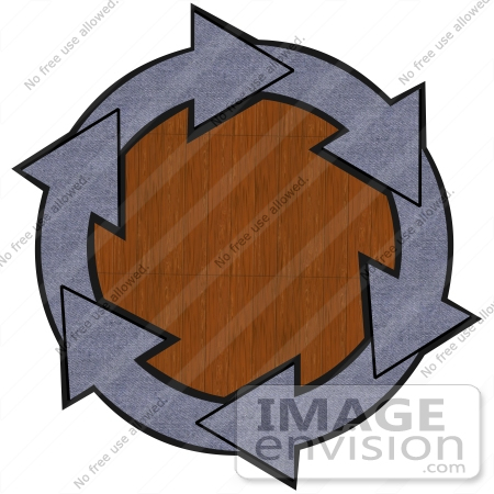 #40690 Clip Art Graphic of Blue Denim Arrows Circling A Wood Grain Center by DJArt