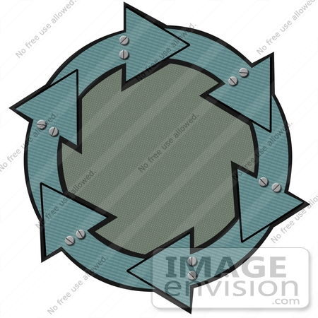 #40700 Clip Art Graphic of Metal Teal Arrows With Bolts, Circling A Textured Green Center by DJArt