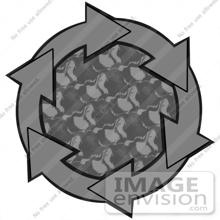 #40710 Clip Art Graphic of Gray Arrows Circling A Patterned Center by DJArt