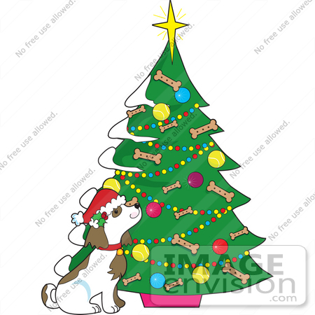 Clip Art Graphic of a Dog by a Christmas Tree With Doggy Biscuits ...