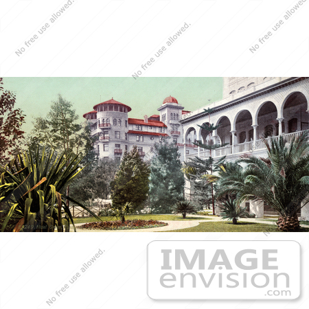 #40724 Stock Photo Of The Yard And Building Of Hotel Green In Pasadena, California by JVPD