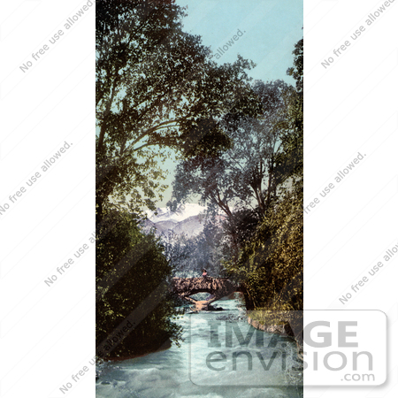 #40739 Stock Photo of a Bridge Over Fountain Creek With A View Of Pike's Peak On The Estate Of Briarhurst In Manitou Springs, Colorado by JVPD