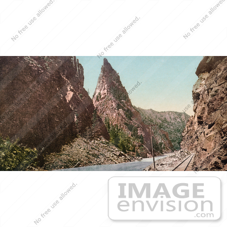 #40791 Stock Photo of a Railroad Along Gunnison River At Curecanti Needle In Black Canyon, Colorado by JVPD