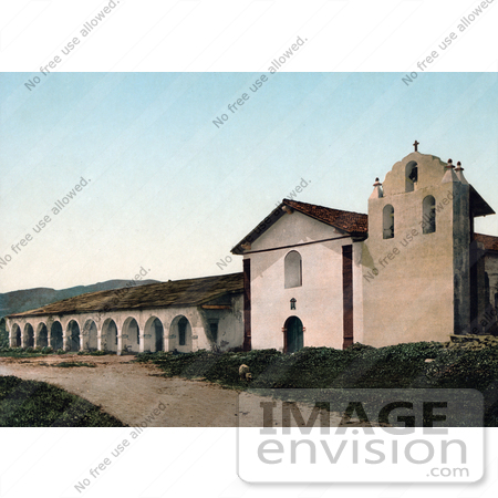 #40801 Stock Photo of The Historical Santa Inez Mission Church And Belfry In Solvang, California by JVPD