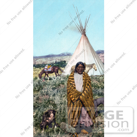 #40803 Stock Photo of a Crow Native American Indian Man Draped In A Blanket, Standing With His Dogs Near A Tipi And Horses On The Great Plains, Taken In 1902 by JVPD