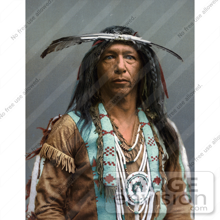 #40804 Stock Photo of an Portrait Of An Ojibwa Native American Indian Brave Man Known As Arrowmaker, 1903 by JVPD