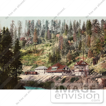 #40808 Stock Photo of The Spring House Train Station Along The River In Shasta Springs, California by JVPD
