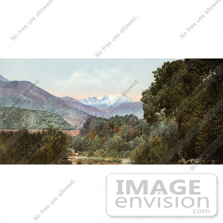 #40813 Stock Photo of a Landscape Of Forests And Hills Near Pike's Peak As Seen From Near Colorado City by JVPD