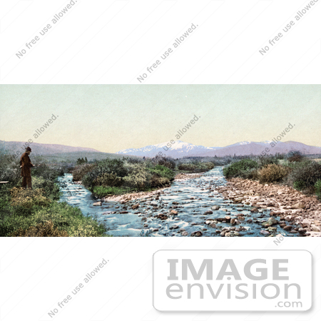 #40822 Stock Photo of a Lone Man Fishing On The Bank Of Williams Fork Of The Colorado River, Arapaho National Forest, Middle Park, Colorado by JVPD
