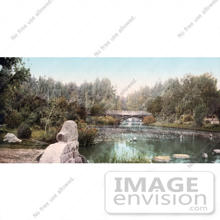 #40829 Stock Photo of a Foot Bridge Over A Pond In East Side Park, Los  Angeles, California by JVPD