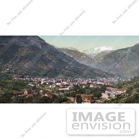 #40830 Stock Photo of a View Of The City Of Manitou Springs, Colorado With The Rocky Mountains In The Distance by JVPD