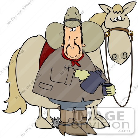 #40847 Clip Art Graphic of a Cowboy Standing By His Horse And Pouring Himself A Cup Of Hot Coffee by DJArt