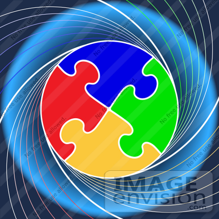 #40856 Clip Art Graphic of a Circle of Colorful Puzzle Pieces Linked on a Swirling Blue Background by Oleksiy Maksymenko