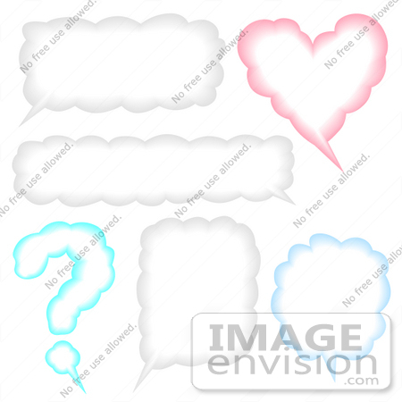 #40865 Clip Art Graphic of Question Mark, Heart And Other Shaped Conversation Boxes by Oleksiy Maksymenko