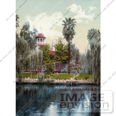 #40869 Stock Photo Of A Building On The Lakefront At Lucky Baldwin's Ranch in Pasadena, California by JVPD