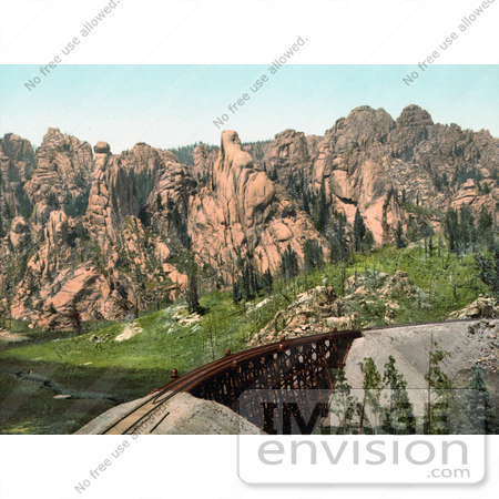 #40871 Stock Photo Of A Bridge Of Train Tracks Near Mountains In Cathedral Park, Colorado by JVPD