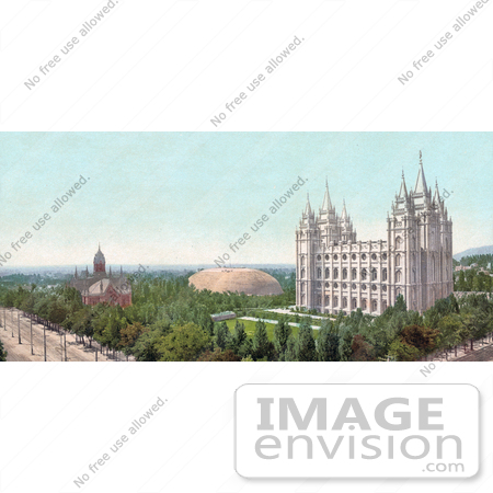 #40874 Stock Photo Of A View On Temple Square, Salt Lake City, Utah by JVPD