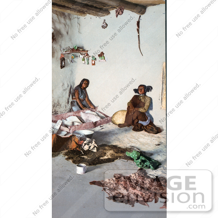 #40883 Stock Photo Of Hopi Women Preparing Hides At The Matate, Moki Pueblos, Arizona by JVPD