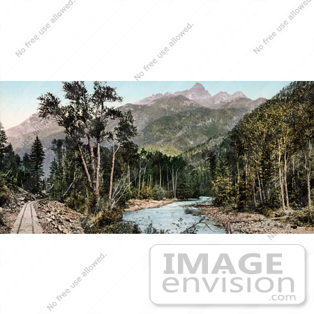 #40884 Stock Photo Of Train Tracks Along The River Near The Needle Mountains, Colorado by JVPD