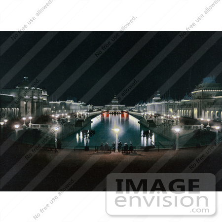 #40885 Stock Photo of Lights Illuminating The Grand Court At The Trans Mississippi And International Exposition In Omaha, Nebraska by JVPD