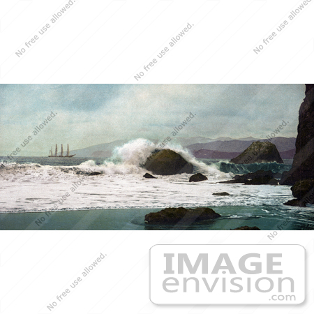 #40889 Stock Photo of a Ship Out At Sea As Seen From A Beach At The Golden Gate, San Francisco, California by JVPD