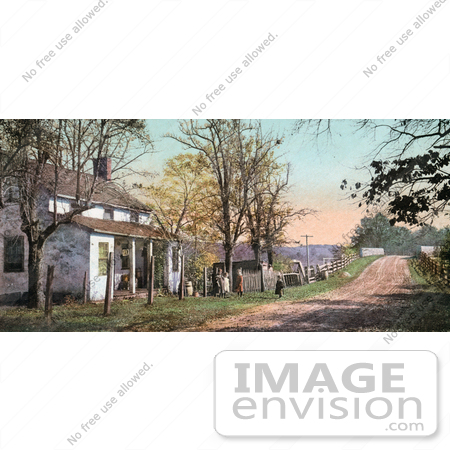 #40894 Stock Photo of Children Playing By A Dirt Road In Front Of An Old House At Far Hills, New Jersey by JVPD