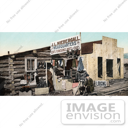 #40899 Stock Photo of Pioneer Merchants At A Log Shoe Store In Colorado by JVPD
