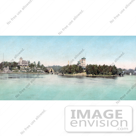 #40902 Stock Photo of a View Of Hopewell Hall And Castle Rest, Thousand Islands, New York by JVPD