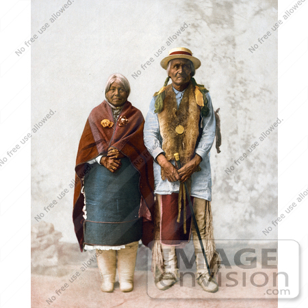 #40911 Stock Photo of a Native American Couple, Jose Jesus And His Wife, Standing by JVPD