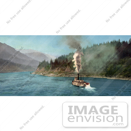 #40955 Stock Photo Of A Steamer On The Columbia River Near The Mountains by JVPD