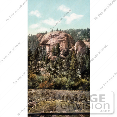 #40962 Stock Photo Of A View Of Dome Rock In Platte Canyon, Colorado, With Train Tracks In The Foreground by JVPD