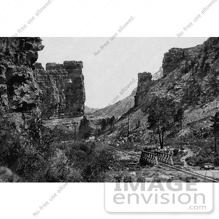 #40976 Stock Photo Of A Railroad Winding Through The Price Canyon At Castle Gate, Utah by JVPD